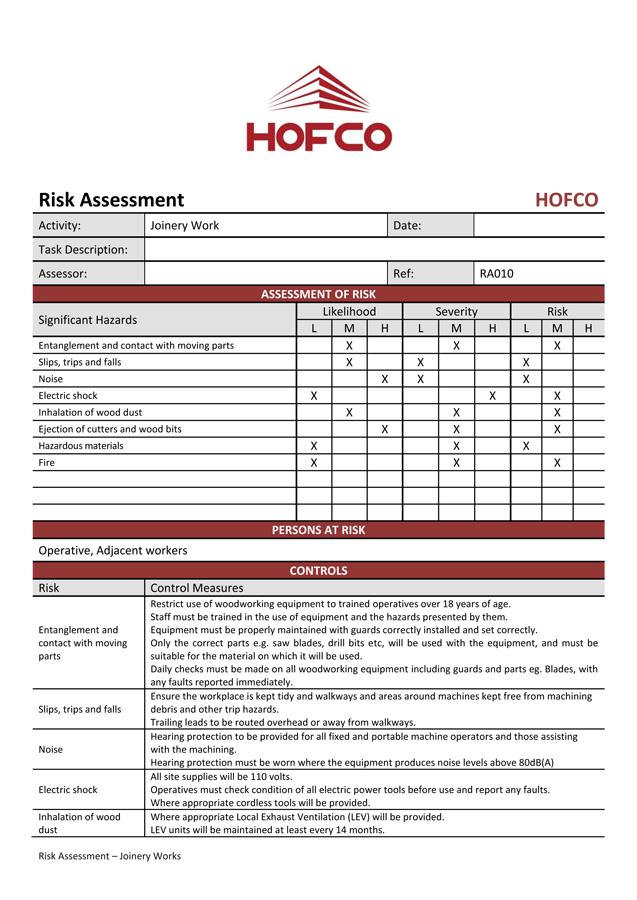 Hofco risk assessment manual handling example2 maxwellsz