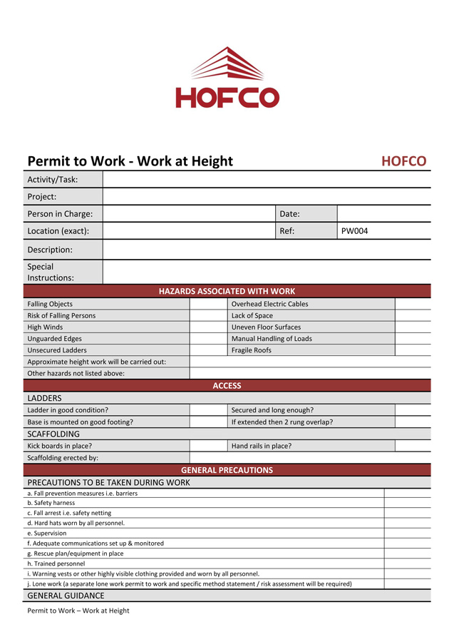 permit to work at height template - electrical safety policy template 28 images tool box